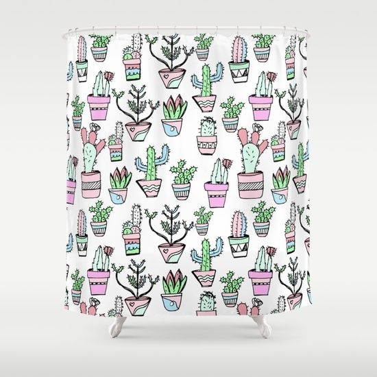 Cactus Pattern - #pattern #cactus #tropical #nature #draw #pastel #pink #green #blue #design #mug #gift #decor https:/Customize your bathroom decor with unique shower curtains designed by artists around the world. Made from 100% polyester our designer shower curtains are printed in the USA and feature a 12 button-hole top for simple hanging. The easy care material allows for machine wash and dry maintenance. Curtain rod, shower curtain liner and hooks not included. Dimensions are 71in. by…
