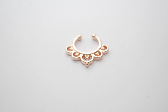 Rose gold hoop faux nose ring fake piercing indian by cclstore