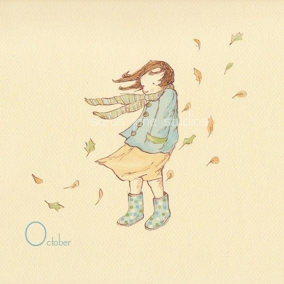 Children's Wall Art Print  October In Polkadot by sarahjanestudios, $26.00