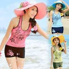 Mujeres Traje De Baño Tankini Floral Push-Up traje de baño ropa de playa Camiseta sin mangas con pantalones cortos