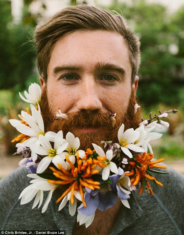 Floral delight: A new hipster trend is flooding boho America, which sees men weave flowers into their beards, including Chris Brinlee Jr, shot by Daniel Bruce Lee (pictured)