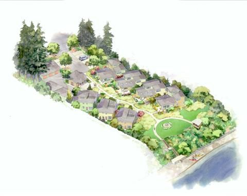 Simple. Smart. Sustainable.  Pocket neighborhood community of compact homes in Silverdale, WA, - Chico Beach Cottages.  Live large and leave a small footprint on the earth....Great concept and use of 1.1 acres of land!