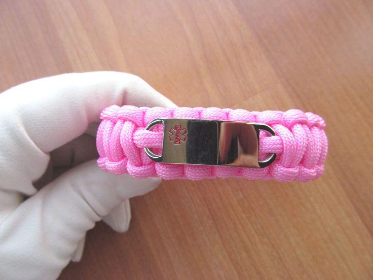 Pink paracord Medical ID Bracelet engravable Stainless Steel Medical ID Alert #Unbranded #IDIdentification
