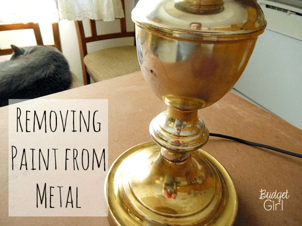 Removing Paint from Metal + Lamp Reveal // Budget Girl --- Bad paint job? Need to fix a small mistake? Here are two easy methods of removing paint (acrylic AND spray paint) from a metal surface.
