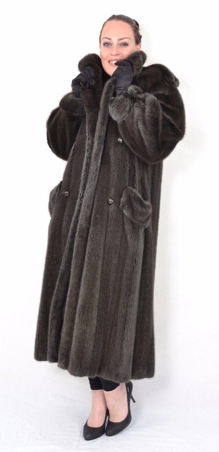 US399 modern dark grey Mink Fur Coat Mink Jacket Full Length Nerzmantel L