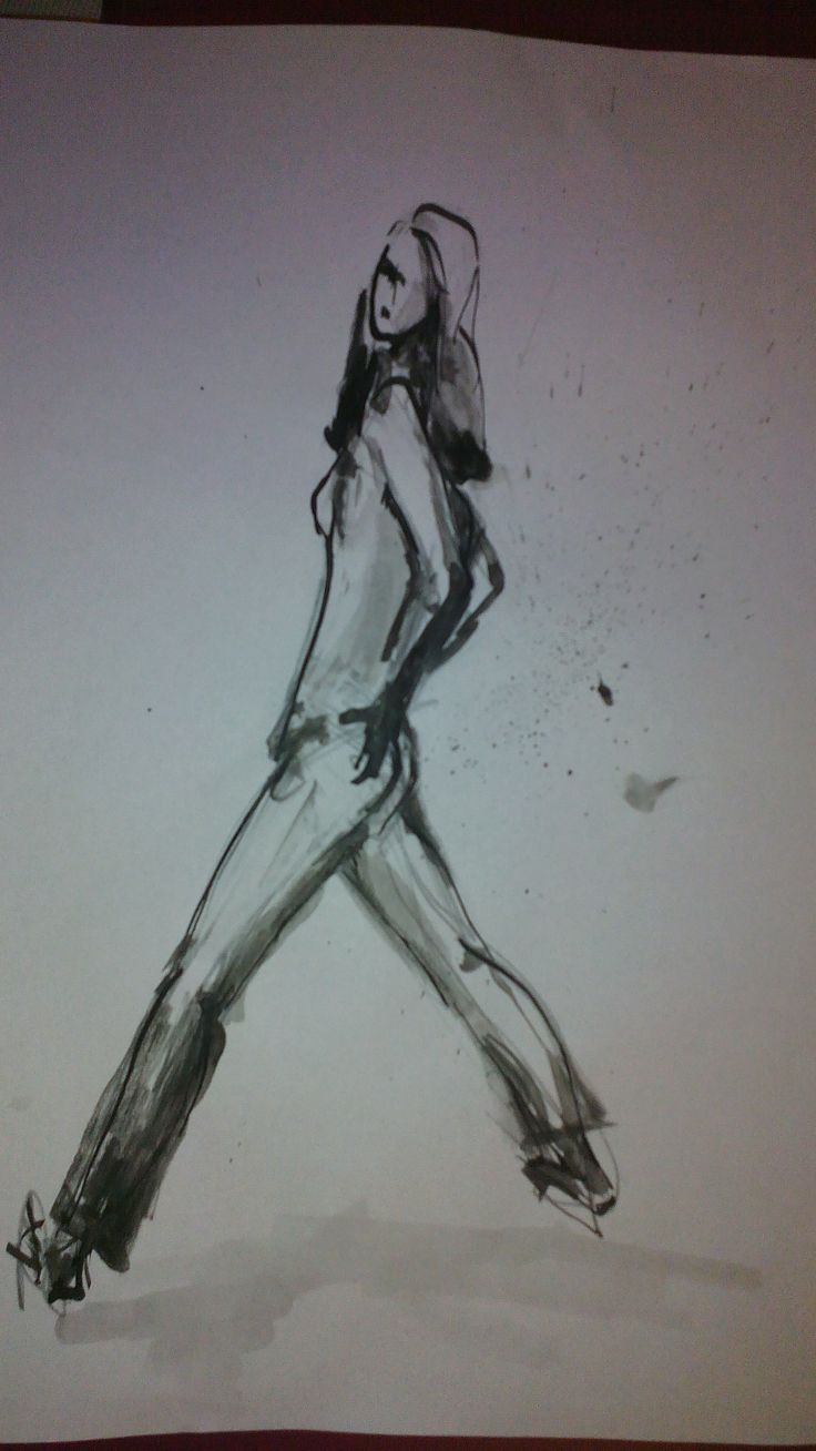 The Girl, ink on paper by Tatjana Danilovic