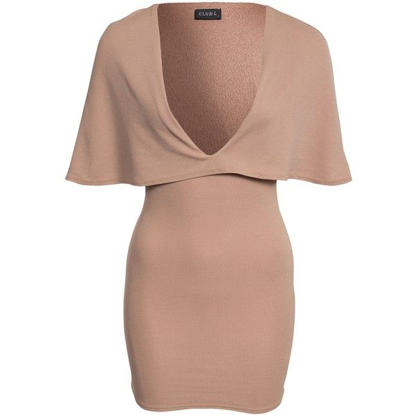Club L Crepe Cape Dress ($46) ❤ liked on Polyvore featuring dresses, camel, party dresses, womens-fashion, vneck dress, v neck cocktail dress, stretchy dresses, flounce dress and beige cocktail dress