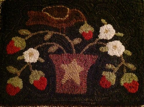 Rhonda Thomas Ohio Primitive Folk Art Hand Hooked Wool Rug Brand New  Excellent