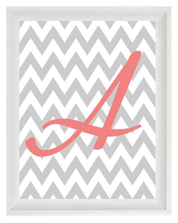 Chevron Initial Letter Art Print - Girl Room Nursery Pink Gray Personalized  - Wall Art Home Decor 8x10 Print- Easy to make in the girl's initials for over their beds