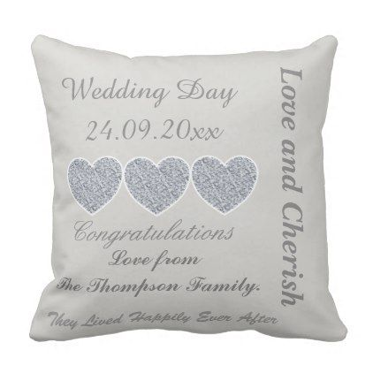Wedding Day Congratulations. Throw Pillow - anniversary cyo diy gift idea presents party celebration