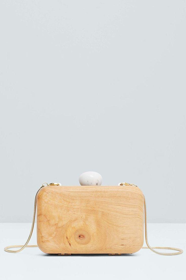 Mango - Torebka drewniana kopertówka Marblec