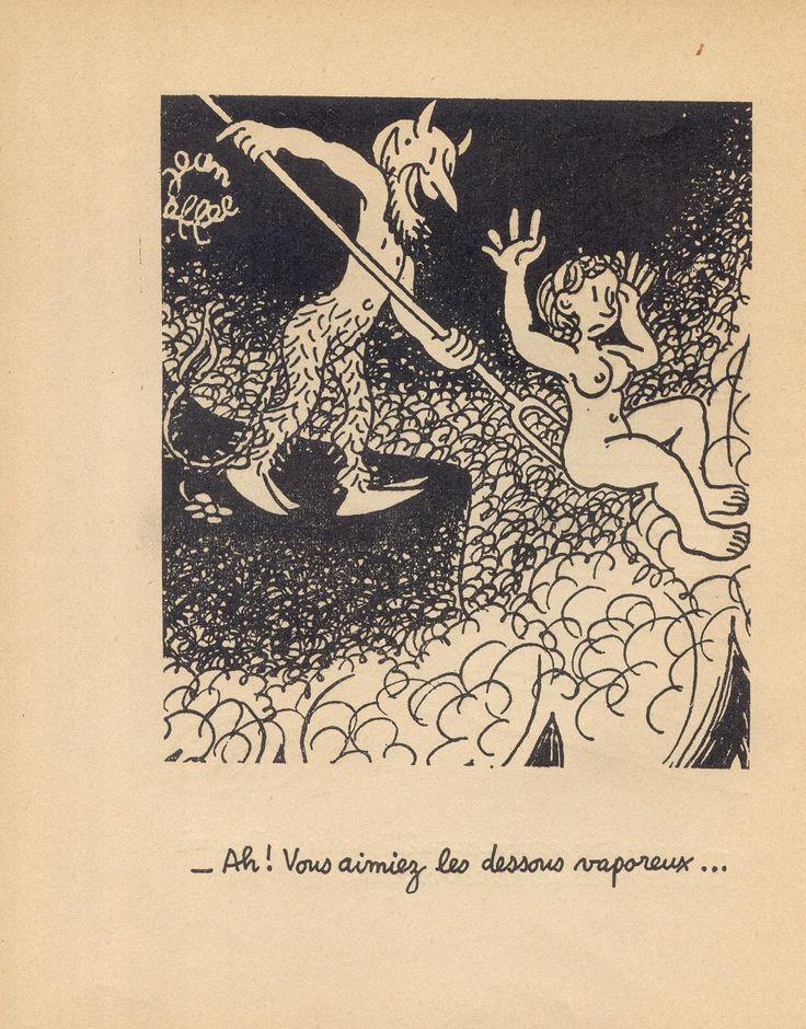 Devil-Paris-1951-9.jpg  Жан Эфель, чье настоящее имя Франсуа Лежен (следовательно, FL), 1908 - 1982 г. Изучал искусство, музыку и философию в Париже.  После неудачной попытки сделать имя в драматургии, он начал посылать свои иллюстрации в различные французские издания. И вот на этом поприще его имя стало известно и не только во Франции - он стал одним из самых популярных иллюстраторов.