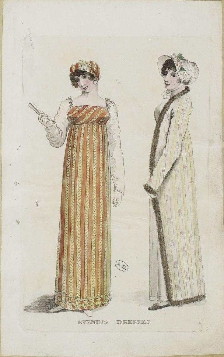 Unknown Publication, 1809, From the Bibliothèque des Arts Décoratifs via SceneInThePast flickr. Evening Dresses