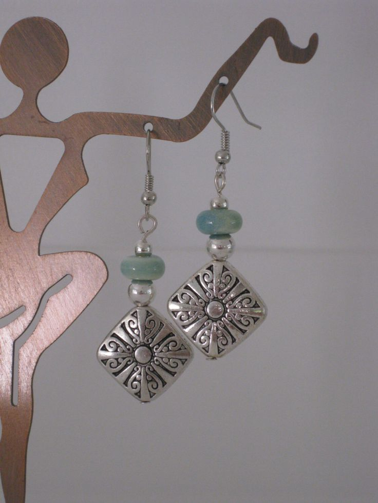 Silver and Blue Green Beaded Earrings, Seafoam Green Beaded, Silver Beaded, Handmade Earrings, Womens Earring, Dangle Earring, Bead Earrings by RalstonOriginals on Etsy https://www.etsy.com/listing/184818915/silver-and-blue-green-beaded-earrings
