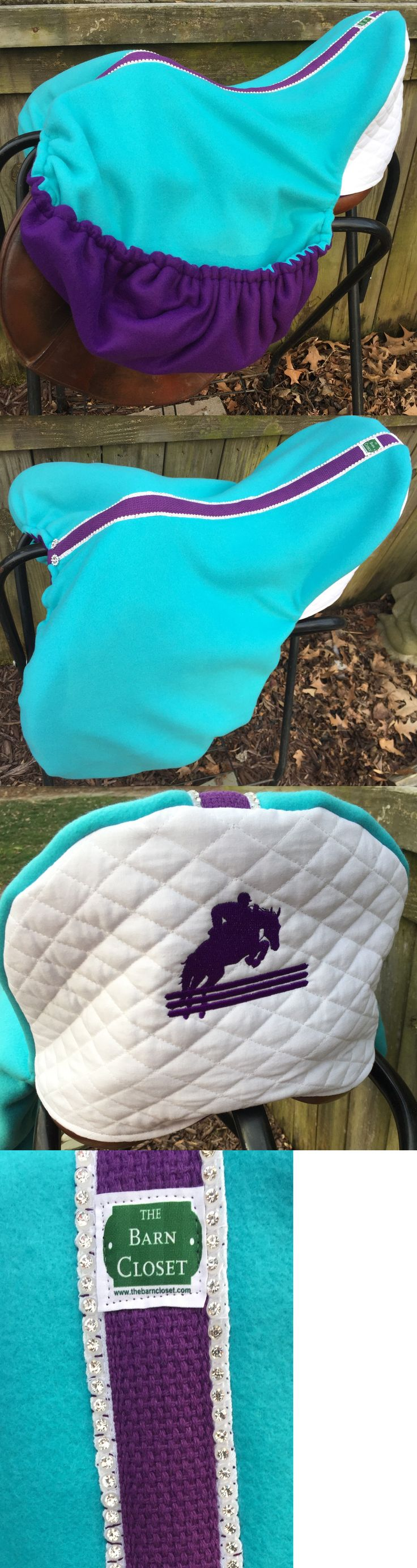 Saddle Covers 179000: Double Fleece Custom Made English Dressage Saddle Cover Teal Purple White Bling BUY IT NOW ONLY: $60.0