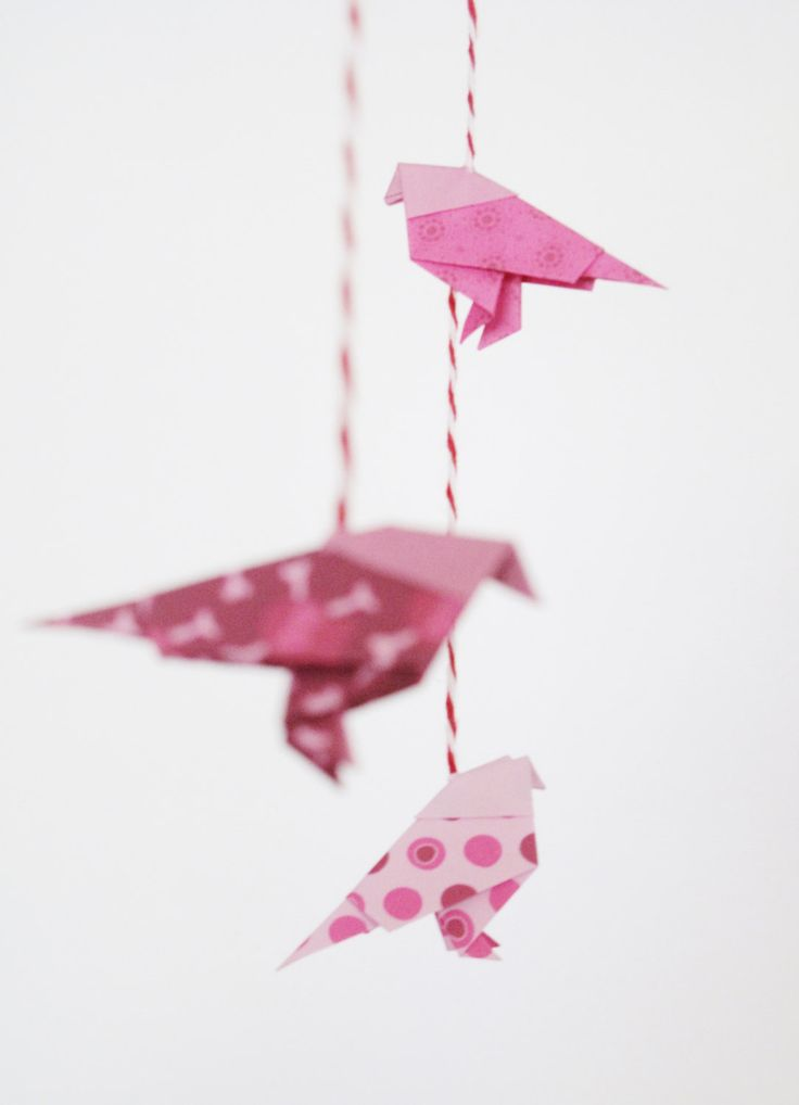 Origami Birds Mobile Pink Garnet Children by paperinthepocket