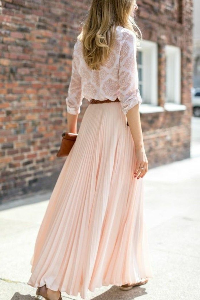 long pale pink women's skirts for girls who love fashion