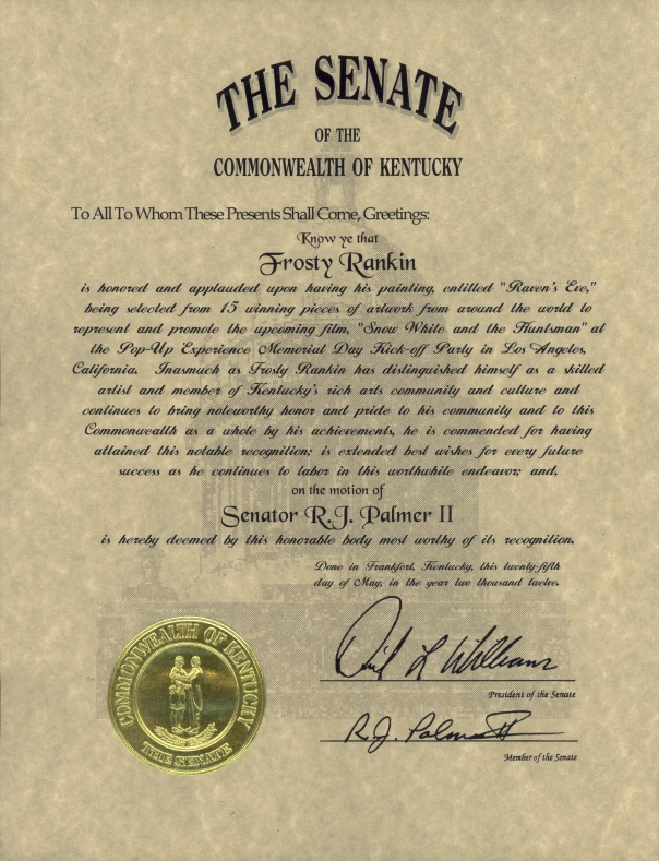 Senate letter of recognition.