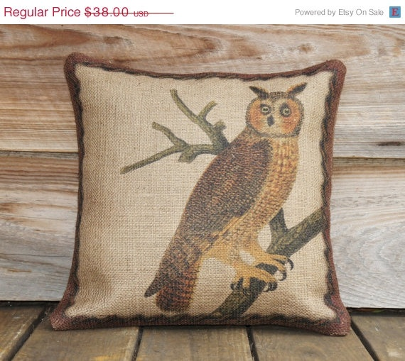 Owl Pillow Burlap Throw Pillow Cover 16x16 by TheWatsonShop..