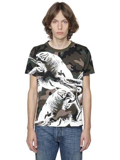 VALENTINO, Panther print camo cotton jersey t-shirt, Camouflage, Luisaviaroma