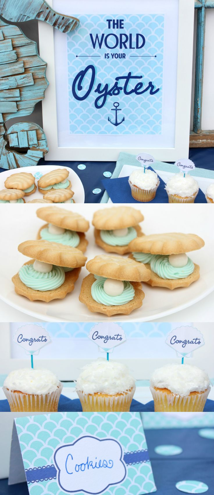 'The World is Your Oyster' themed graduation party! Celebrate your favorite grad with a chic one of a kind soiree. Three free printables and tons of party ideas! #graduation #partyideas #printable | Blue Crab Martini
