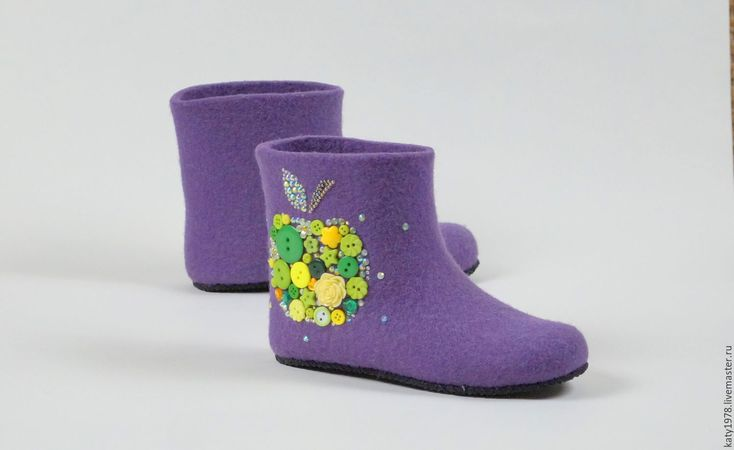 """Buy Children woolen slippers """"Sweet Apple"""" - slippers, children shoes, handmade shoes, felting"""