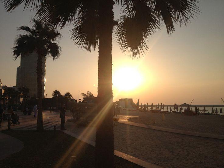 Watching the sunset @ JBR Beach, Dubai