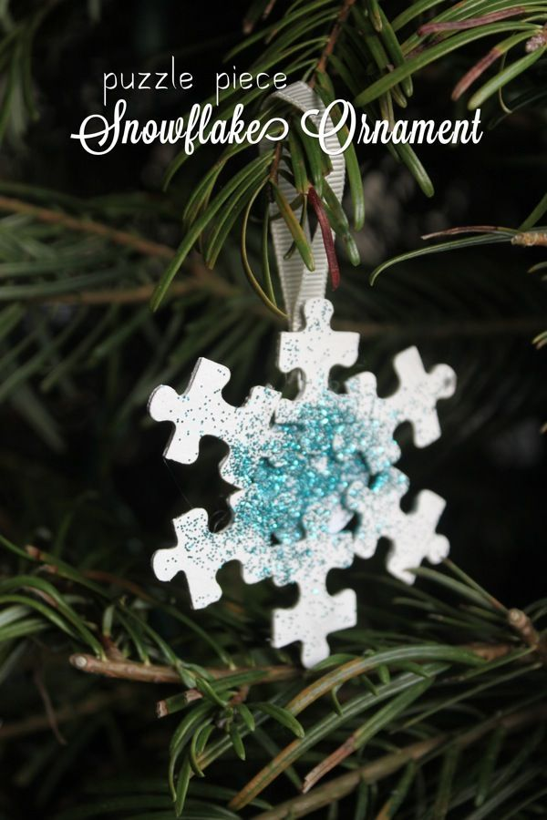 Puzzle Piece Snowflake Ornament | Mama.Papa.Bubba.