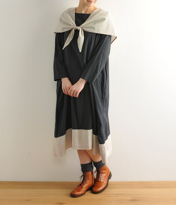 #1万円以下 #ワンピース #ナチュラン #ナチュラル #かわいい #可愛い #三角ストール #チャコール