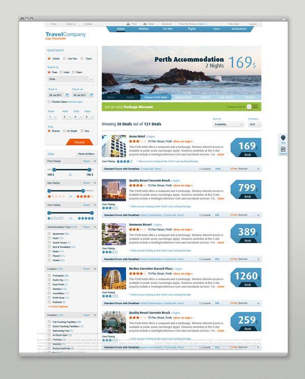 Travel Website Redesign by Martin Oberhäuser, via Behance