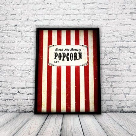 Vintage, Retro, Movie Popcorn Poster, A3 Print, wall art, home decor, film, circus, carnival: Amazon.co.uk: Kitchen & Home