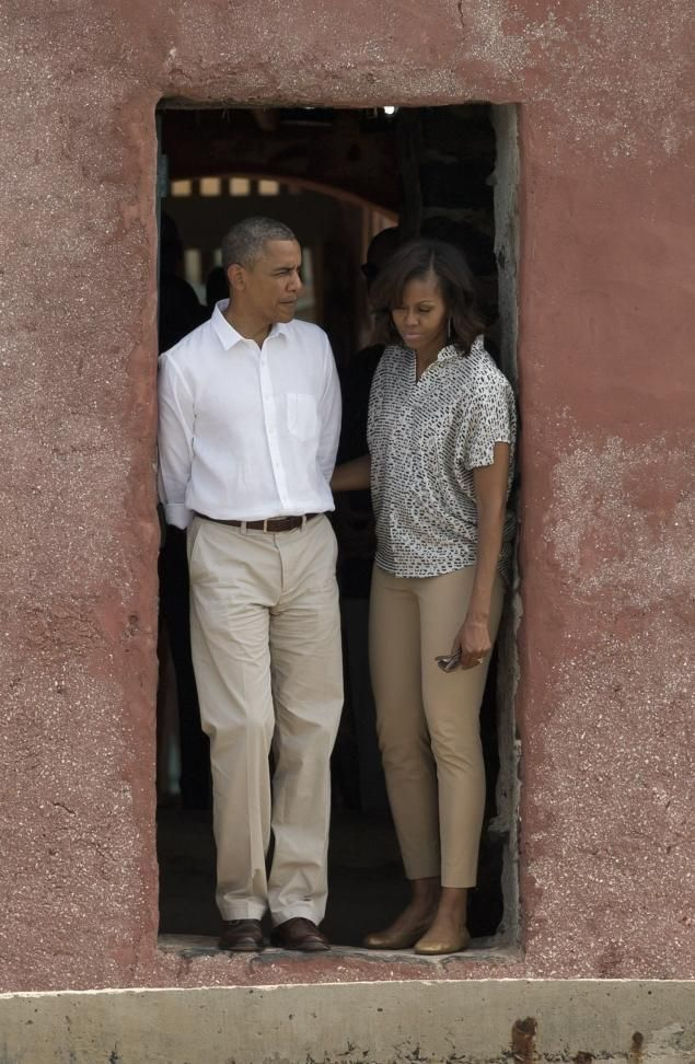 The Obamas in Africa   President Obama and First Lady Michelle Obama stand together at the 'Door of No Return,' at the slave house on Goree Island, in Dakar, Senegal.   Photo: Rebecca Blackwell /AP