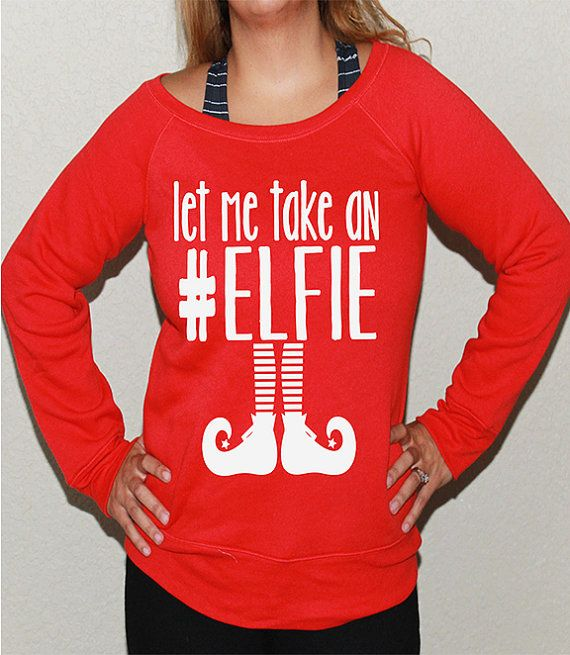 Women's Ugly Christmas sweater -- Christmas sweaters -- pullover sweatshirt -- off the shoulder women's size s m l xl xxl. let me take elfie
