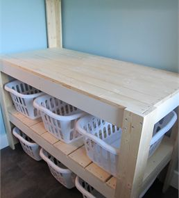 Potting Bench Inspired Laundry Sorter & Folding Table  Use weave type…