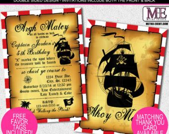 Artículos similares a Pirate Invitation, Pirate Birthday Party, Pirate Party Set, Pirate invite, Ship, Pirate Centerpieces, Pirate Decoration, Pirate decor (P2) en Etsy