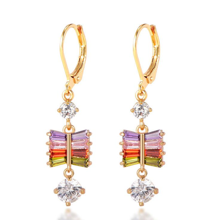Click to Buy << Delicate Tree Shaped Dangle Earrings Yellow Gold Filled  Charm. >>