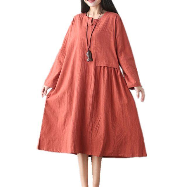 2017 New women spring vintage dress solid color cotton linen long dress plus size loose chinese style dress autumn midi dress