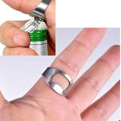 1x Stainless Steel Finger Ring Bottle Opener Bar Beer Glass Cap Tool Silver SOZ