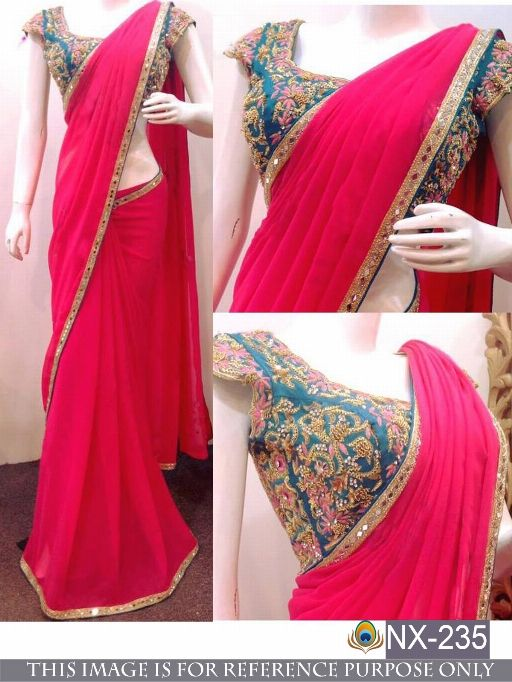 Bright Indian Work Saree Sari Bollywood Style Wedding Designer Fancy Women Wear Gj Women's Clothing Other Women's Clothing