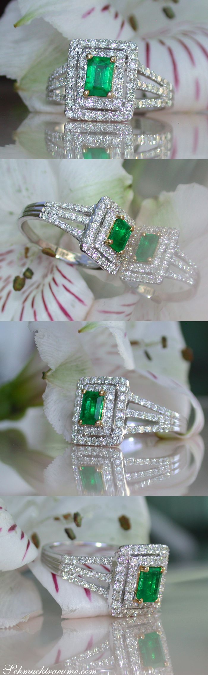 Ausgesuchter Kolumbianischer Smaragd Ring mit Brillanten | Precious Columbian Emerald Ring with Diamonds | Explore: Schmucktraeume.com | Like: https://www.facebook.com/pages/Noble-Juwelen/150871984924926