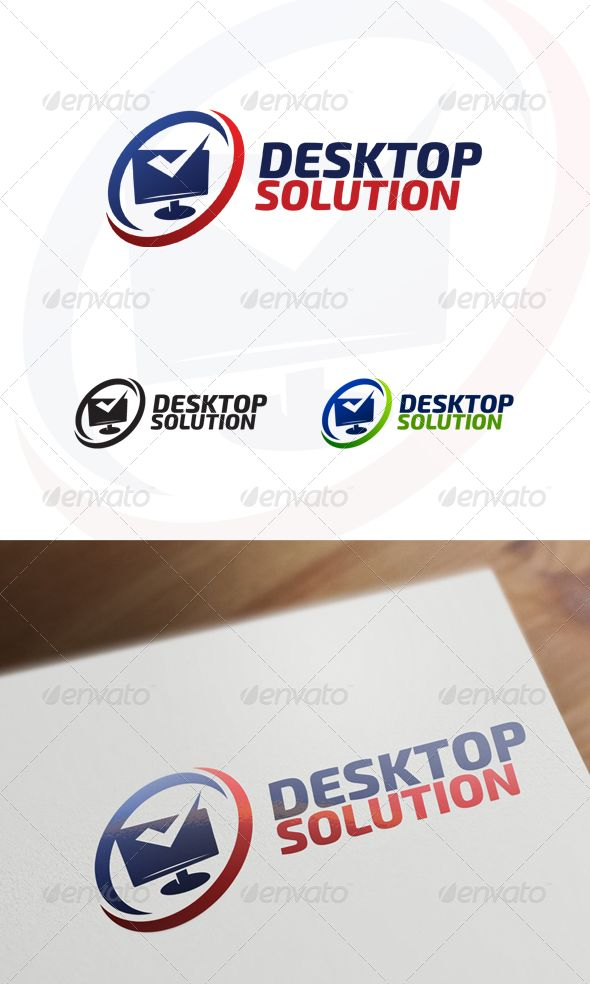 Desktop Solution ¨C Computer & Internet Logo Simple & Effective logo combining 2 concept in 1 image Font used : Exo 2Cheers, Andy