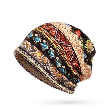 Women Ethnic Style Stripe Print Bonnet