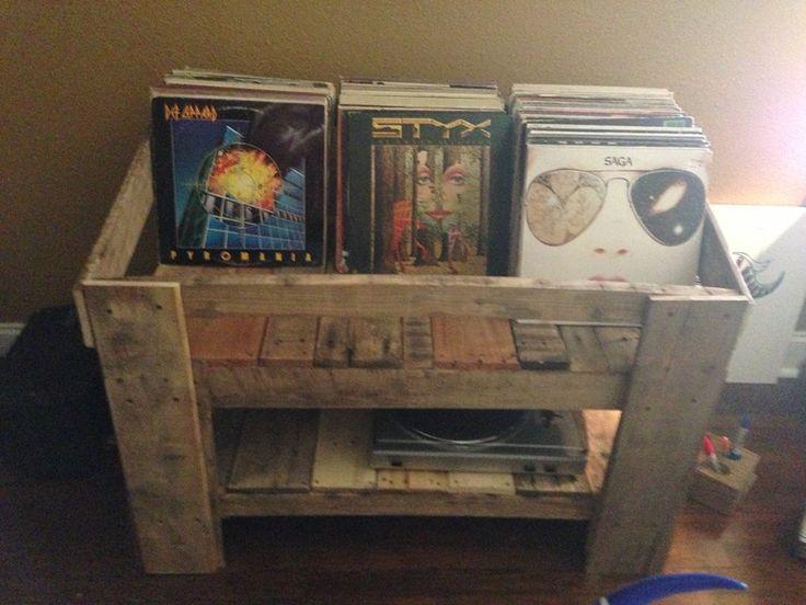 pallet wood record stand coole m bel pinterest m bel. Black Bedroom Furniture Sets. Home Design Ideas