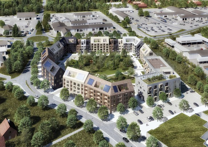 The block is organized around a large, green park and offers different types on housing units – from smaller ones for students to large apartments for large families with kids.