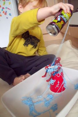 Spider man sensory play with silly string...i know just the toddler to LOVE this activity! Superhero Sensory Play for Boys