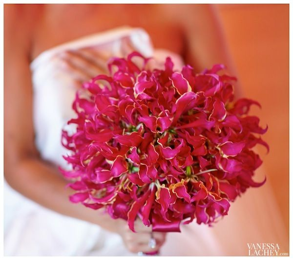 For my wedding, I chose an entire bouquet of Gloriosa Magenta Lillies. A lily typically reflects a symbol of union, partnership and long-la...