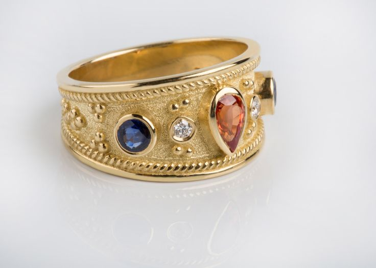 15%off SOLID GOLD RING Tourmaline Sapphire & Diamond Stones