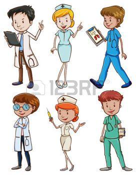 verpleegster%3A+Illustratie+van+de+medische+professionals+op+een+witte+achtergrond