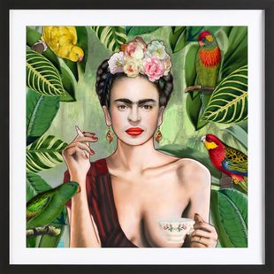 Frida Con Amigos - Nettsch - Affiche encadrée - bois