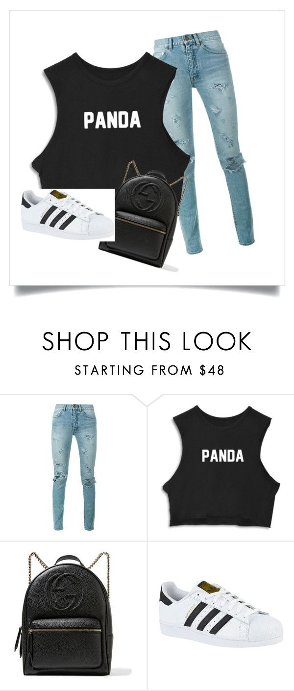 """Panda's style"" by love666x on Polyvore featuring Belleza, Yves Saint Laurent, Gucci y adidas"